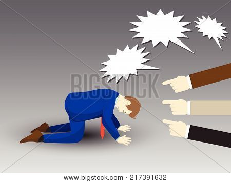 Vector Illustration Business Concept Designed As A Businessman Is Kneeling With Others Pointing And Shouting At Him. He Is Seriously Criticized Blamed Accused By The Others And Full Of Depression.