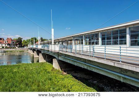 Bridge to spa island over river Vah Piestany Slovak republic. Travel destination.