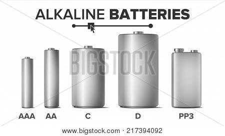 Alkaline Batteries Mock Up Set Vector. Different Types AAA, AA, C, D, PP3, 9 Volt. Standard Modern Realistic Battery. Metal Clean Empty Template. Isolated Illustration