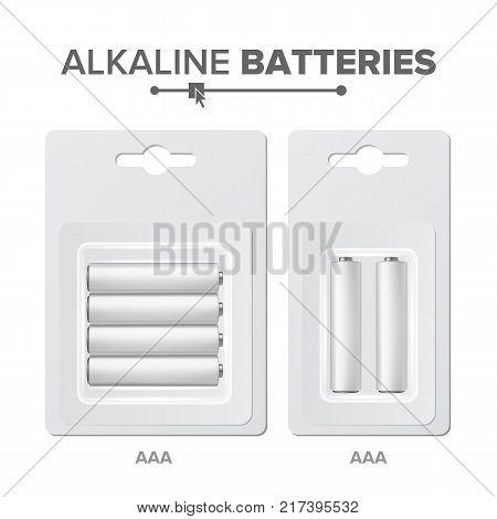 AAA Batteries Packed Vector. Alkaline Battery In Blister. Realistic Glossy Battery Accumulator. Mock Up . Closeup Isolated Illustration