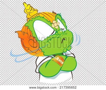 Face off I do not care Thai giant green color cartoon acting character vector design on graphic transparency has clipping paths.