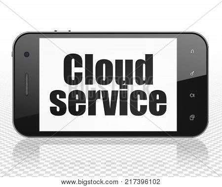 Cloud technology concept: Smartphone with black text Cloud Service on display, 3D rendering
