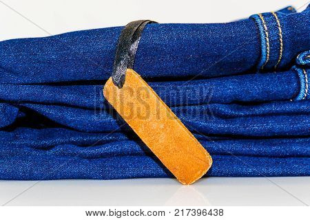 Close Up Of Fashion Jeans And Lable Tag