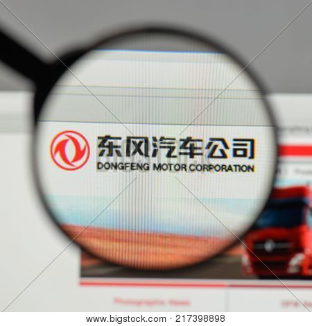 Milan, Italy - August 10, 2017: Dongfeng Motor Logo On The Website Homepage.