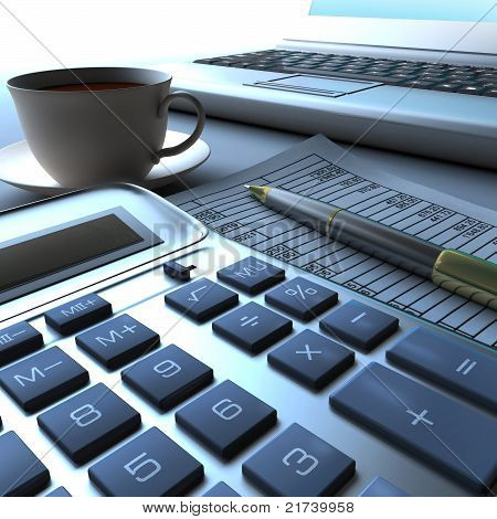 Calculator, laptop and pen with financial document