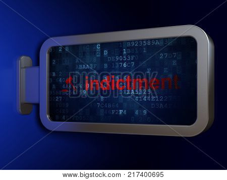 Law concept: Indictment and Gavel on advertising billboard background, 3D rendering