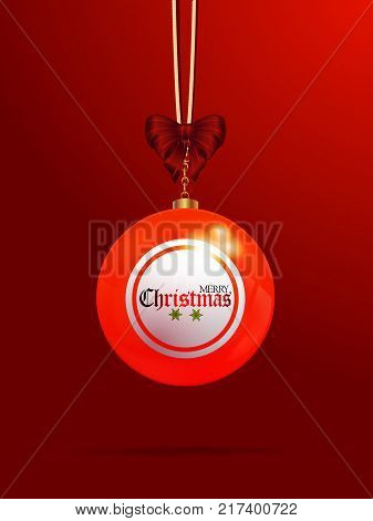 3D Illustration of Christmas Decorated Bingo Lottery Bauble with Bow and Merry Christmas Text Over Red Portrait Background
