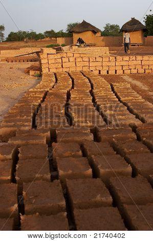 Bricks drying in the sun in Africa