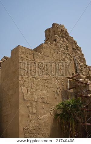 Wall covered in hieroglyohs in Karnak temple, Egypt