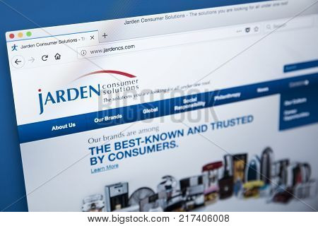 LONDON UK - NOVEMBER 25TH 2017: The homepage of the official website for Jarden - the American consumer products company on 25th November 2017.