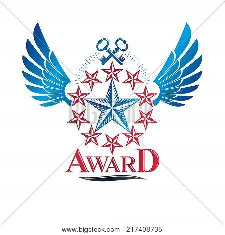 Winged ancient pentagonal Star emblem decorated with keys security theme. Heraldic vector design element guaranty symbol. Retro style label heraldry logo.