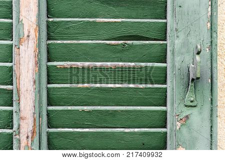 detail of a old rundown green wooden folding shutter blinds with green flaking paint