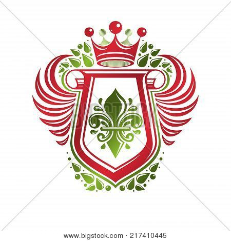 Vintage heraldic insignia made with monarch crown and lily flower royal symbol. Eco friendly product symbol king quality theme illustration winged protection shield created with cartouche.
