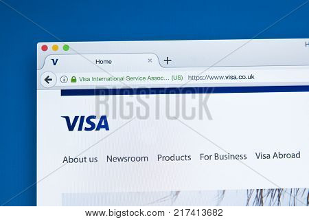 LONDON UK - OCTOBER 17TH 2017: The homepage of the official website for Visa - the major brand of debit card on 17th October 2017.