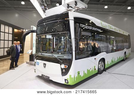 MOSCOW, SEP, 5, 2017: View on Russian white vehicle passenger electro bus KAMAZ exhibit on Commercial Transport Exhibition ComTrans-2017. Commercial civil transport. Russian automobile industry. KAMAZ electric city bus