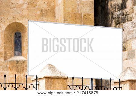 White Banner For Advertising On The Facade Of The Buildingin Santo Domingo, Dominican Republic. Copy