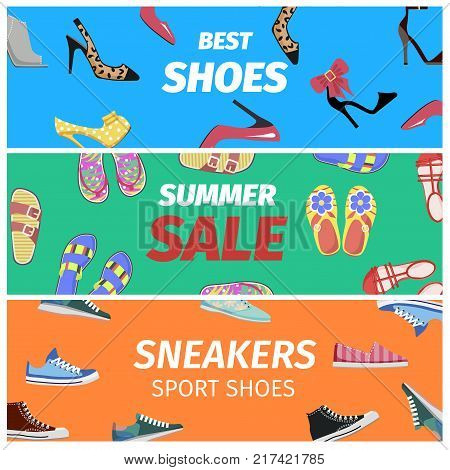 Best summer sale of sneakers sport shoes set of colorful banners. Footwear shopping concept. Buy elegant stilettos, comfortable sneakers, summer flip-flops with discount vector illustration.