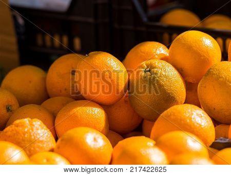 Fresh Oranges Are Sale In The Local Market, Siurana, Catalunya, Spain. Close-up.