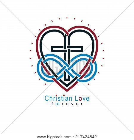 Everlasting Christian Love and True Belief in God vector creative symbol design combined with infinity endless loop and Christian Cross vector logo or sign.