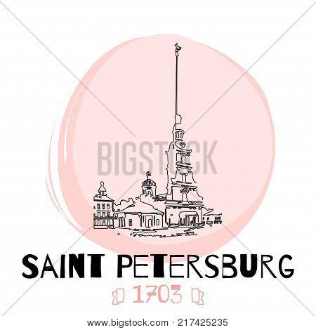 Saint-Petersburg's Attractions Vector Illustration. Hand drawn sketch