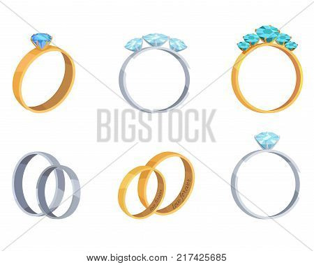 Collection of engagement silver golden and platinum rings isolated on white background. Rings with precious stones, expensive gems and diamonds. Vector illustration of marriage stylish accessories