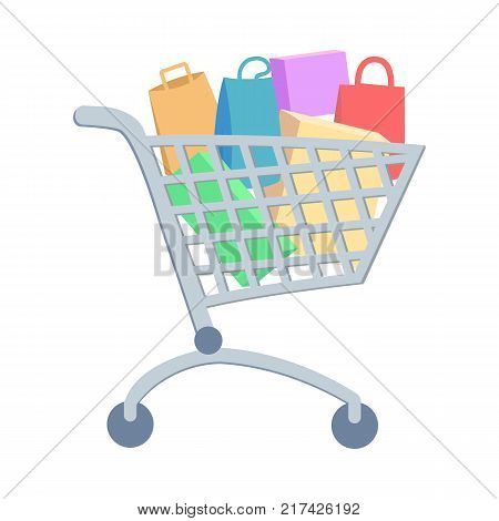 Shopping trolley full of paper bags and boxes flat vector illustration. Make purchases on seasonal sale in supermarket concept isolated on white background. For e-commerce and online shopping app icon