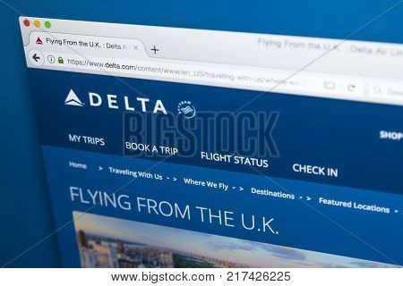 LONDON UK - OCTOBER 21ST 2017: The homepage of the official website for Delta Airlines the major American Air Line on 21st October 2017.