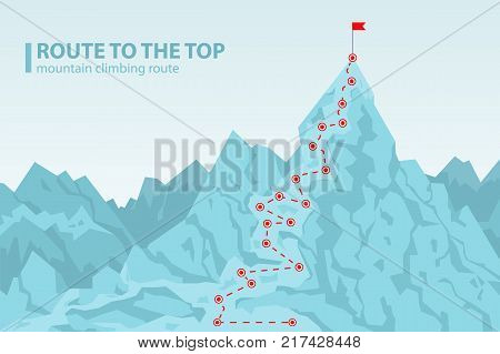 Route to the top mounting climbing, poster depicting mount and pole with red flag on its top, headline and image isolated on vector illustration