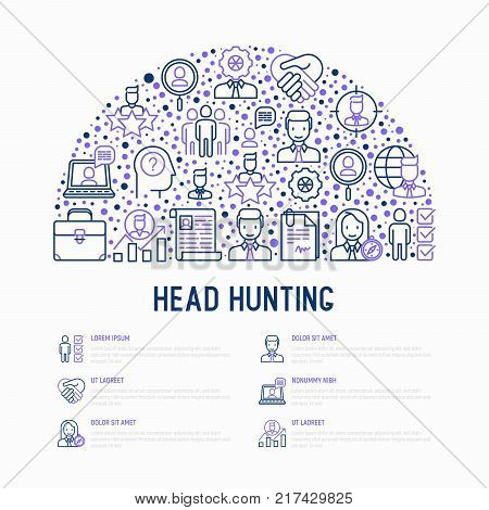 Head hunting concept in half circle with thin line icons: employee, hr manager, focus, resume; briefcase; achievements; career growth, interview. Vector illustration for banner, web page, print media.