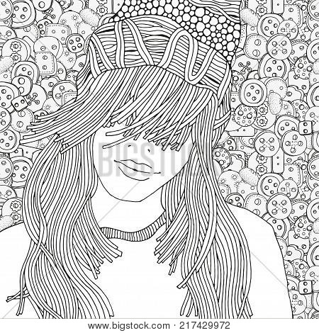 Girl in a knitted cap. Pattern for coloring book. Clothes buttons. Sketch. Warm clothes. Hand-drawn vector illustration. Zentangle patterns.