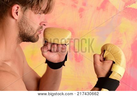 Man With Confident Face And Bristle On Colorful Background