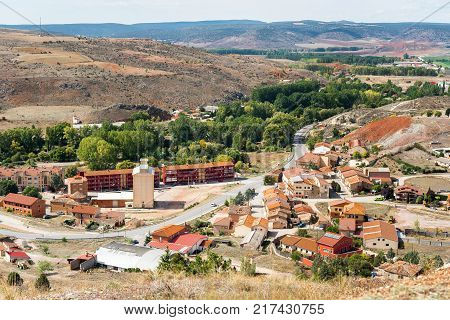 View Of The Mountain Landscape And The City Of Molina De Aragon, Guadalajara, Spain. Copy Space For