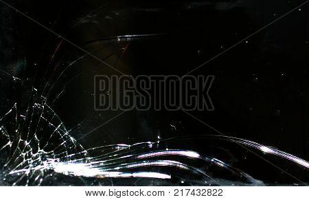 Broken smartphone screen. Phone screen broken in cracks