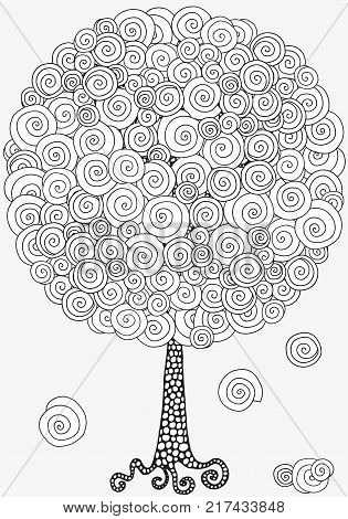 Artistic tree with hand-drawn swirls, ringlets. Pattern for coloring book. Doodle, tribal. Made by trace from sketch. Ink pen. Black and white. Zentangle patters. Zen art. Coloring book for adult.