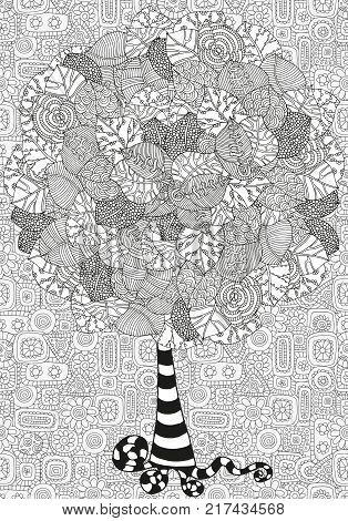 Artistic tree with hand drawn leaves. Hand drawn, doodle, tribal. Ink pen. Black and white background. Zentangle patters.