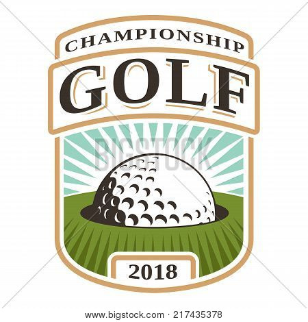 Golf ball in hole logo design on white backgound. All elements text are the separate layer.