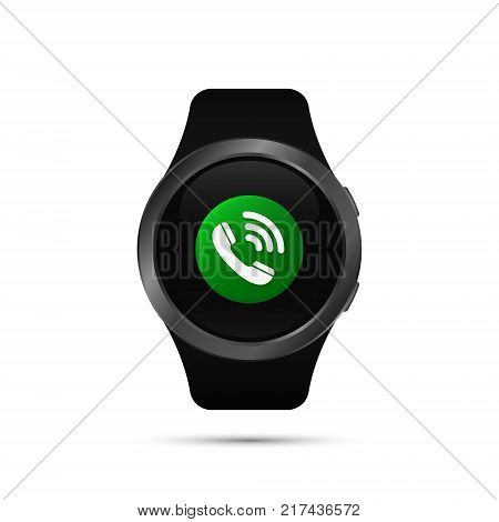 Smart watch with call phone symbol. Vector isolated illustration of calling smart watch.