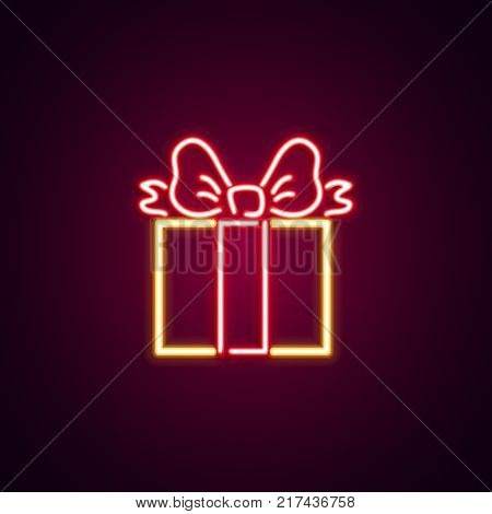 Christmas giftbox neon sign. Neon sign, bright signboard, light banner. Vector icons