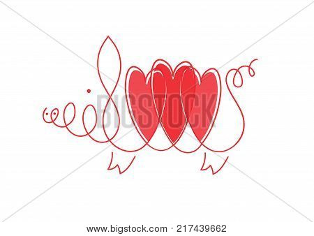 Pig with heart for Valentine's day card. Linear stylized drawing of pig swine - for icon or sign template. Love from pig. linear image of a pig with three hearts on white background.