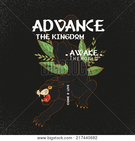 Advance the kingdom slogan. Panther with roses.Rock and roll girl patch. Typography graphic print, fashion drawing for t-shirts .Vector stickers, print, patches vintage