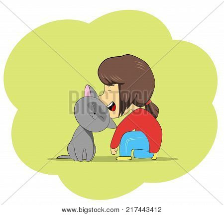 Cartoon girl and grey cat. Relations with pets concept. Vector