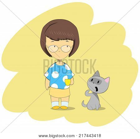Cartoon girl and her cat. Cft asks for food. Vector