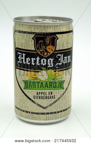 Almere, The Netherlands-  December 8, 2017: Can of Hertog Jan Bastaard beer. Bastaard is a premium Radler pils.