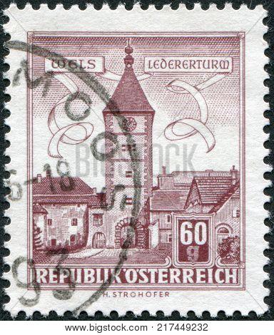 AUSTRIA - CIRCA 1962: A stamp printed in Austria is shown Tanners Tower (Wels) circa 1962