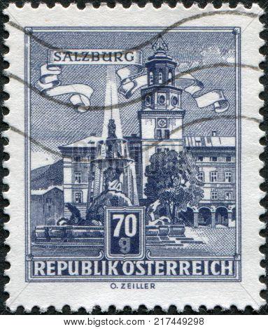 AUSTRIA - CIRCA 1962: A stamp printed in Austria is shown Residenz Fountain Salzburg circa 1962