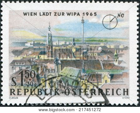 AUSTRIA - CIRCA 1964: A stamp printed in Austria is dedicated to the Vienna International Philatelic Exhibition shows the church Maria am Gestade and Donauturm Vienna circa 1964