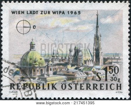 AUSTRIA - CIRCA 1964: A stamp printed in Austria is dedicated to the Vienna International Philatelic Exhibition shows St. Peter's Church (Peterskirche) and St. Stephen's Cathedral (Stephansdom) Vienna circa 1964