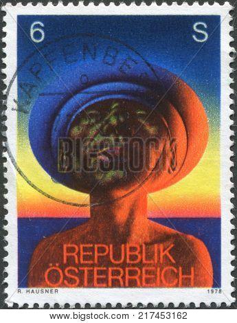 AUSTRIA - CIRCA 1978: A stamp printed in Austria shows Adam by Rudolf Hausner circa 1978