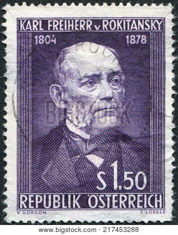 AUSTRIA - CIRCA 1954: A stamp printed in Austria is dedicated to the 150th anniversary of Baron Carl von Rokitansky circa 1954