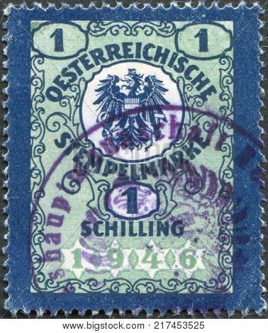 AUSTRIA - CIRCA 1946: A stamp printed in Austria the fiscal mark coat of arms circa 1946